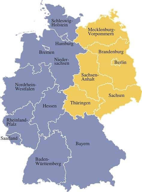 landy w Niemczech mapa